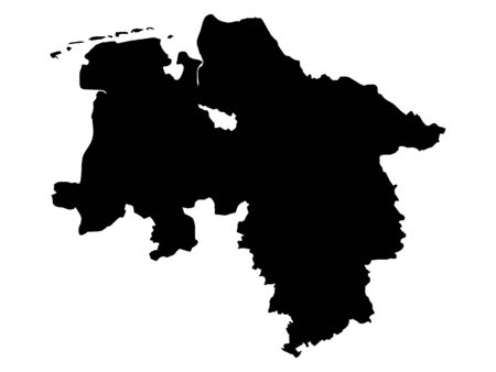 Black Map of the German State of Lower Saxony Standard-Bild - 131061110