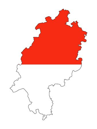 Combined Flag and Map of the German State of Hesse Stock Illustratie