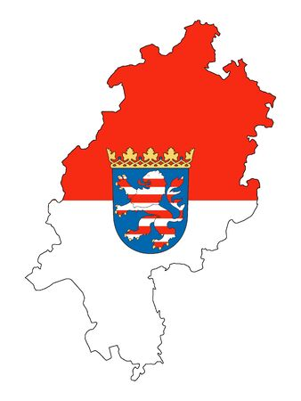 Combined Flag and Map of the German State of Hesse Ilustração