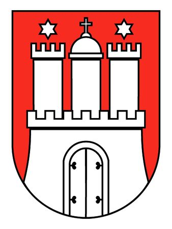 Lesser Coat of arms of the German State of Hamburg Stock Illustratie