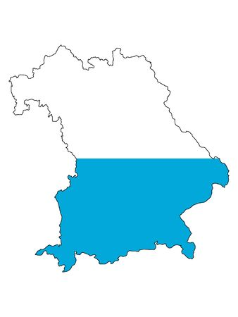Combined Map and Lesser Flag of the German State of Bavaria