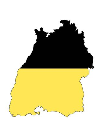 Combined Map and Flag of the German State of Baden-Wurttemberg Stok Fotoğraf - 130769611