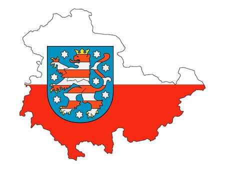 Combined Map and State Flag of the German State of Thuringia