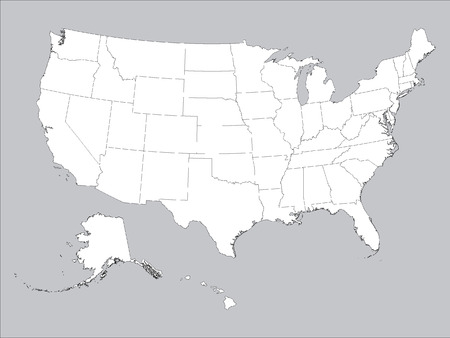 Vector illustration of the White Federal States Map of the United States of America (Gray Background)