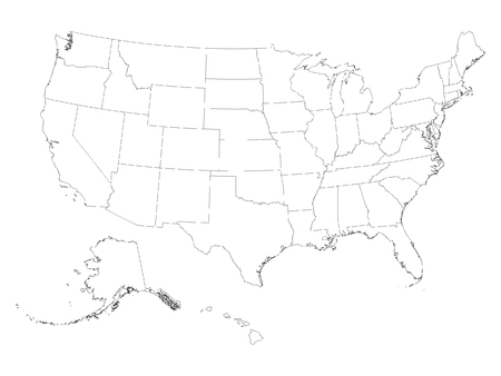 Vector illustration of the White Contour Map of Federal States of the United States of America