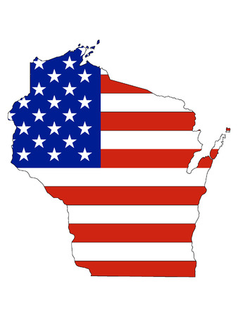 Wisconsin map combined with US flag Illustration