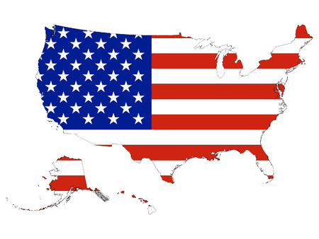 USA Map map combined with US flag