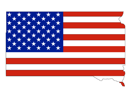 South Dakota map combined with US flag Ilustrace