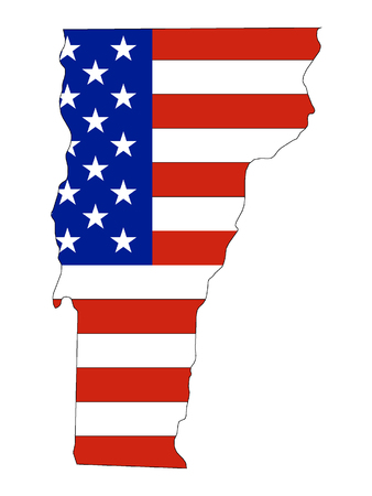 Vermont map combined with US flag Stok Fotoğraf - 126931867