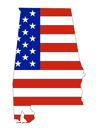 Alabama map combined with US flag