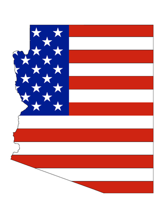 Arizona map combined with US flag