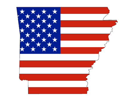 Arkansas map combined with US flag Ilustrace