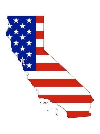 California map combined with US flag Ilustrace