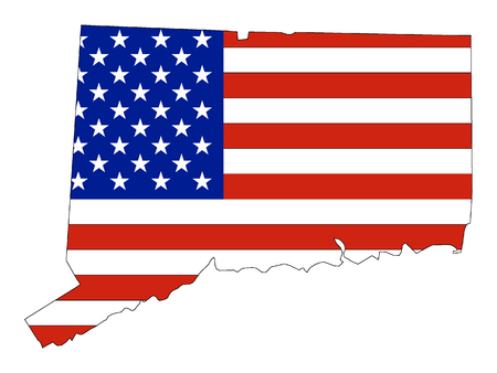 Connecticut map combined with US flag