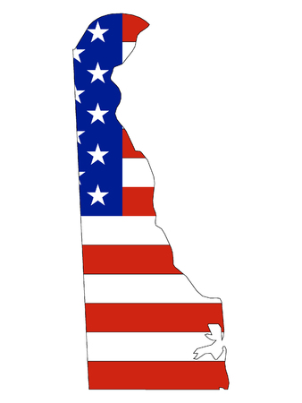 Delaware map combined with US flag