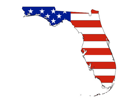 Florida map combined with US flag