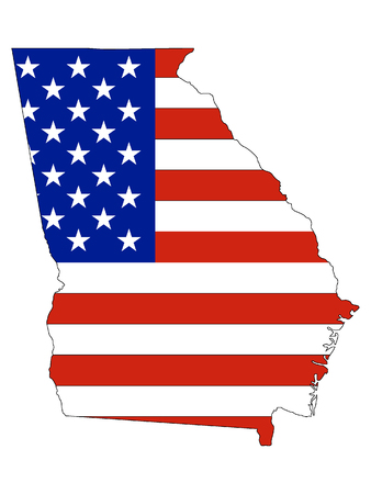 Georgia map combined with US flag