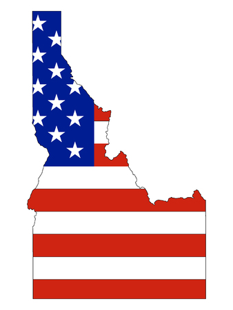 Idaho map combined with US flag