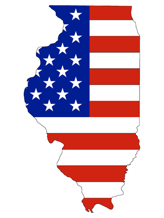Illinois map combined with US flag