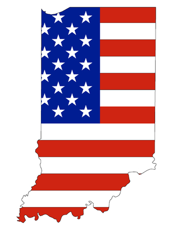 Indiana map combined with US flag