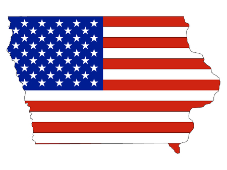 Iowa map combined with US flag Stok Fotoğraf - 127290804