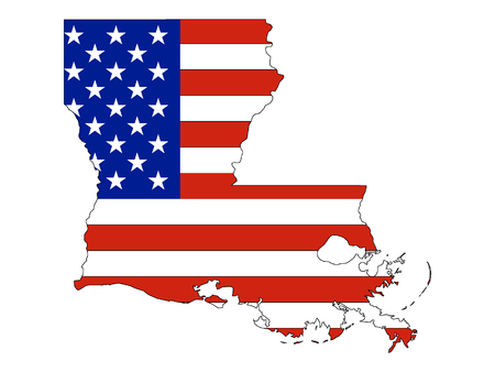 Louisiana map combined with US flag