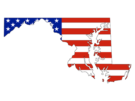 Maryland map combined with US flag
