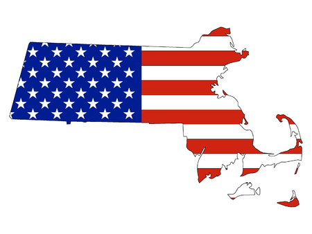 Massachusetts map combined with US flag Ilustrace