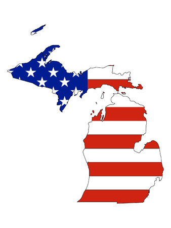 Michigan map combined with US flag