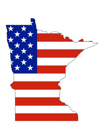 Minnesota map combined with US flag Ilustrace