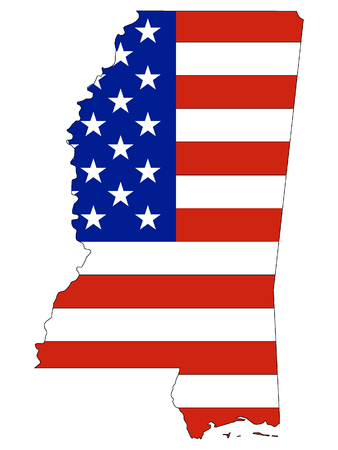 Mississippi map combined with US flag