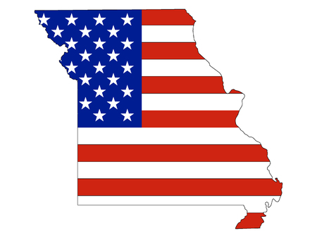 Missouri map combined with US flag Ilustrace