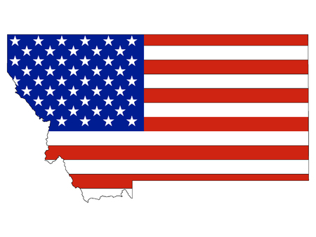 USA Flag with Map of US Federal State of Montana 일러스트