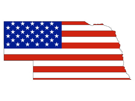 USA Flag with Map of US Federal State of Nebraska