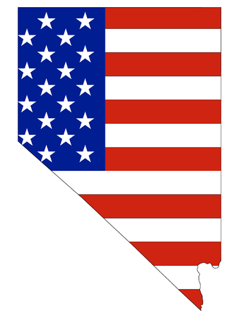 USA Flag with Map of US Federal State of Nevada Ilustrace