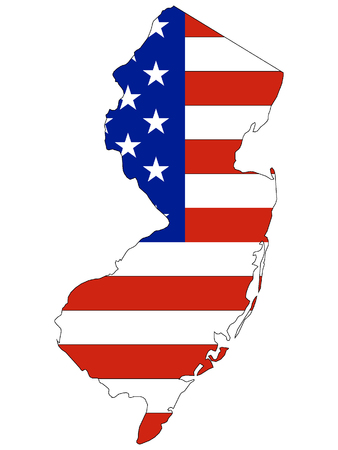 USA Flag with Map of US Federal State of New Jersey