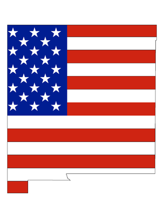 USA Flag with Map of US Federal State of New Mexico