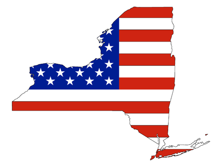 USA Flag with Map of US Federal State of New York