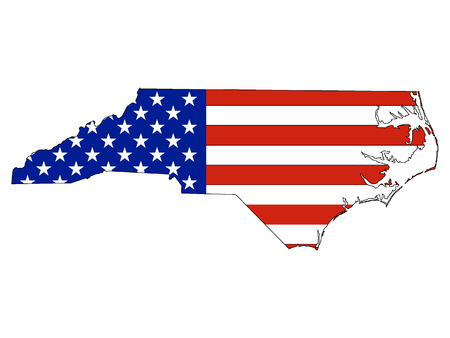 USA Flag with Map of US Federal State of North Carolina