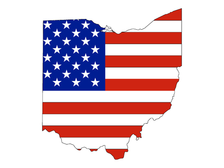 USA Flag with Map of US Federal State of Ohio