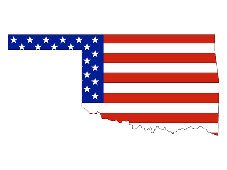 USA Flag with Map of US Federal State of Oklahoma