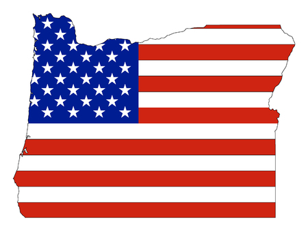 USA Flag with Map of US Federal State of Oregon