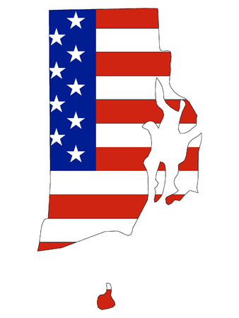 USA Flag with Map of US Federal State of Rhode Island Ilustrace