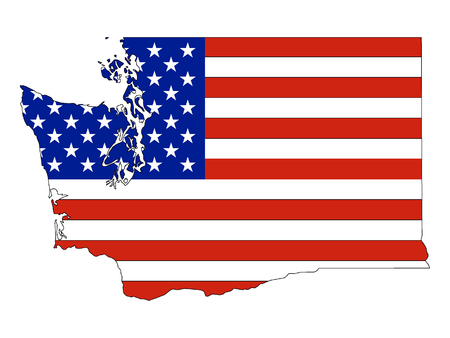 USA Flag with Map of US Federal State of Washington
