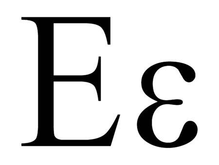 Uppercase and Lowercase Greek Alphabet Letter Epsilon Archivio Fotografico - 131061540