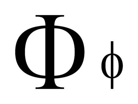 Uppercase and Lowercase Greek Alphabet Letter Phi 向量圖像