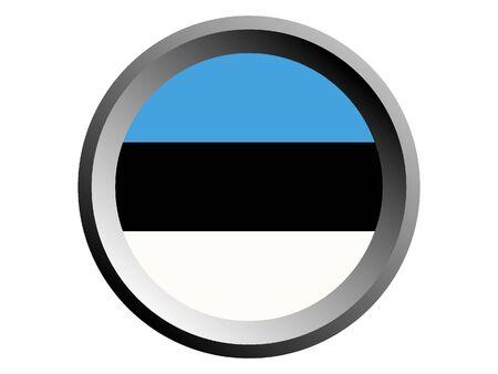 Round National Flag of Estonia  イラスト・ベクター素材