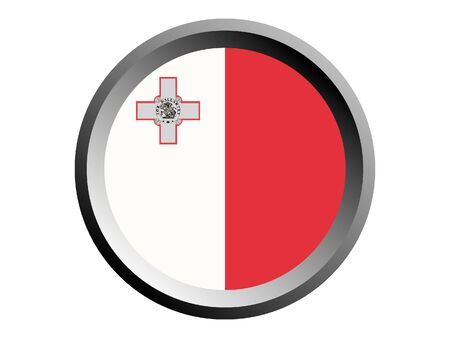 Round National Flag of Malta Иллюстрация