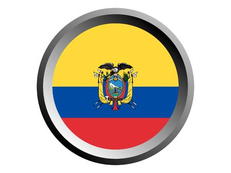 Round National Flag of Ecuador Ilustração