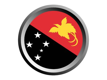 Round National Flag of Papua New Guinea Illustration
